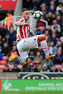 Marko Arnautovic of Stoke city controls the ball before he takes a shot at goal . Premier league match, Stoke City v West Ham Utd at the Bet365 Stadium in Stoke on Trent, Staffs on Saturday 29th April 2017.<br /> pic by Bradley Collyer, Andrew Orchard sports photography.