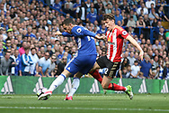 Chelsea midfielder Eden Hazard (10) scores during the Premier League match between Chelsea and Sunderland at Stamford Bridge, London, England on 21 May 2017. Photo by John Potts.