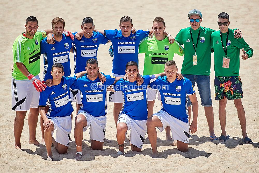 NAZARE, PORTUGAL - JUNE 2: SK Bosnia EU Teplice line up during the Euro Winners Cup Nazaré 2019 at Nazaré Beach on June 2, 2019 in Nazaré, Portugal. (Photo by Jose M. Alvarez)