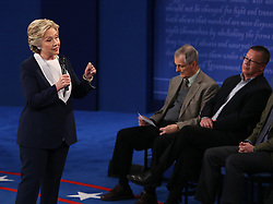 Hillary Clinton addresses the crowd during the second debate between the Republican and Democratic presidential candidates on Sunday, October 9, 2016 at Washington University in St. Louis, Mo. Photo by Christian Gooden/St. Louis Post-Dispatch/TNS/ABACAPRESS.COM