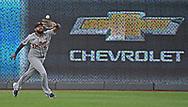 Detroit Tigers left fielder Jorge Bonifacio (57) makes a running catch during the sixth inning against the Kansas City Royals at Kauffman Stadium. Mandatory