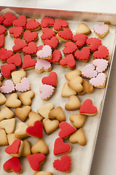 January 29, 2014 - New York, New York, U.S - Assortment of Heart-Shaped Cookies on Baking Sheet, High Angle View (Credit Image: © Novo Images/Glasshouse via ZUMA Wire)