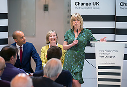© Licensed to London News Pictures. 16/05/2019. Bath, Bath and North East Somerset, UK. RACHEL JOHNSON speaks at a Change UK - The Independent Group rally at Bath Cricket Club as part of campaigning in the elections for the European Parliament. Photo credit: Simon Chapman/LNP