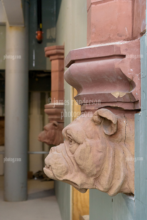 Boathouse at Canal Dock Phase II   State Project #92-570/92-674 Construction Progress Photo Documentation No. 17 on 1 December 2017. Image No. 16  Salvaged Terra-Cotta Yale Bulldog Head from the Adee Boathouse