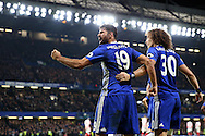 Diego Costa of Chelsea celebrates after scoring his sides 4th goal to make it 4-2 with his David Luiz of Chelsea. Premier league match, Chelsea v Stoke city at Stamford Bridge in London on Saturday 31st December 2016.<br /> pic by John Patrick Fletcher, Andrew Orchard sports photography.