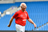 Tommy Charlton of England over 60's warming up before the world's first Walking Football International match between England and Italy at the American Express Community Stadium, Brighton and Hove, England on 13 May 2018. Picture by Graham Hunt.