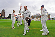 Marcus Trescothick of Somerset leaves the field in his last match and has a guard of honour from the Essex players as he walks off to retire from playing during the Specsavers County Champ Div 1 match between Somerset County Cricket Club and Essex County Cricket Club at the Cooper Associates County Ground, Taunton, United Kingdom on 26 September 2019.