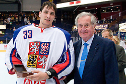 Roman Handl of Czech Republic as best goalie of the tournament and Hans Dobida of IIHF at IIHF In-Line Hockey World Championships Top Division Gold medal game between National teams of Czech Republic on July 4, 2010, in Karlstad, Sweden. (Photo by Matic Klansek Velej / Sportida)