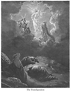 The Transfiguration [Matthew 17:2-3] From the book 'Bible Gallery' Illustrated by Gustave Dore with Memoir of Dore and Descriptive Letter-press by Talbot W. Chambers D.D. Published by Cassell & Company Limited in London and simultaneously by Mame in Tours, France in 1866