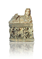 Etruscan Hellenistic style cinerary, funreary, urn , with a chariot, inv 5704,  National Archaeological Museum Florence, Italy , white background .<br /> <br /> If you prefer to buy from our ALAMY PHOTO LIBRARY  Collection visit : https://www.alamy.com/portfolio/paul-williams-funkystock - Scroll down and type - Etruscan Florence - into LOWER search box. (TIP - Refine search by adding a background colour as well).<br /> <br /> Visit our ETRUSCAN PHOTO COLLECTIONS for more photos to download or buy as wall art prints https://funkystock.photoshelter.com/gallery-collection/Pictures-Images-of-Etruscan-Historic-Sites-Art-Artefacts-Antiquities/C0000GgxRXWVMLyc
