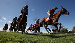 Runners and riders in the Adare Manor Opportunity Series Final Handicap Hurdle during day two of the Punchestown Festival 2018 at Punchestown Racecourse, County Kildare. PRESS ASSOCIATION Photo. Picture date: Wednesday April 25, 2018. See PA story RACING Punchestown. Photo credit should read: Niall Carson/PA Wire