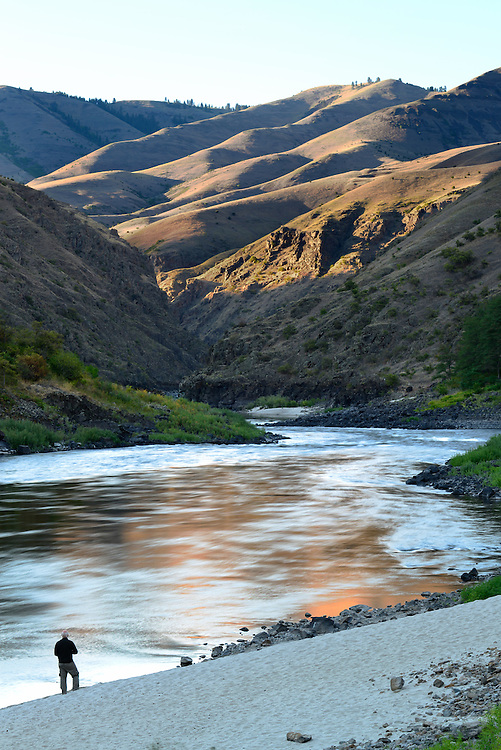 Gazing out at the river and hills of the Lower Salmon River canyon in Idaho.