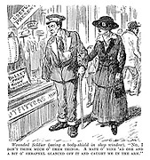 """Wounded soldier (seeing a body-shield in shop window). """"No I don't think much o' them things. A mate o' mine 'ad one and a bit o' shrapnel glanced off it and caught me in the arm."""""""