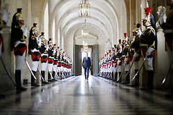 French President Emmanuel Macron walks through the Galerie des Bustes (Busts Gallery) to access the Versailles Palace's hemicycle for a special congress gathering both houses of parliament (National Assembly and Senate) in the palace of Versailles, outside Paris, on July 3, 2017. Photo by French President Emmanuel Macron walks through the Galerie des Bustes (Busts Gallery) to access the Versailles Palace's hemicycle for a special congress gathering both houses of parliament (National Assembly and Senate) in the palace of Versailles, outside Paris, on July 3, 2017. Photo by Denis Allard/Pool/ABACAPRESS.COM