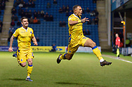 Bristol Rovers forward Jonson Clarke-Harris (19) celebrates after scoring a goal (0-1) during the EFL Sky Bet League 1 match between Gillingham and Bristol Rovers at the MEMS Priestfield Stadium, Gillingham, England on 12 March 2019.