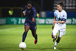 Kadidiatou Diani of France and Mateja Zver of Slovenia during football match between Slovenia and France in 2nd round of Women's world cup 2023 Qualifying round on 21 of September, 2021 in Mestni stadion Fazanerija, Murska Sobota, Slovenia. Photo by Blaž Weindorfer / Sportida