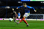 Ronan Curtis (11) of Portsmouth crosses the ball during the EFL Sky Bet League 1 match between Portsmouth and Ipswich Town at Fratton Park, Portsmouth, England on 21 December 2019.