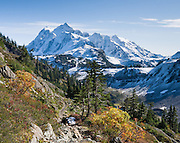 From the Chain Lakes Loop trail, in Mount Baker Wilderness, view Mount Shuksan (9127 feet elevation), located in North Cascades National Park, Washington, USA.