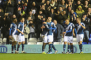 Birmingham City midfielder Jacques Maghoma celebrates scoring the first goal during the Sky Bet Championship match between Birmingham City and Brentford at St Andrews, Birmingham, England on 2 January 2016. Photo by Alan Franklin.