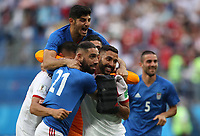 SAINT PETERSBURG, RUSSIA - JUNE 15: Saman Ghoddos of Iran celebrates with team mates at full time during the 2018 FIFA World Cup Russia group B match between Morocco and Iran at Saint Petersburg Stadium on June 15, 2018 in Saint Petersburg, Russia. (Photo by Ian MacNicol/Getty Images)