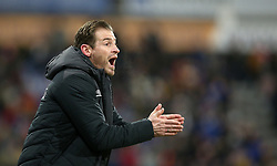"""Huddersfield Town manager Jan Siewert reacts on the touchline during the Premier League match at the John Smith's Stadium, Huddersfield. PRESS ASSOCIATION Photo. Picture date: Tuesday January 29, 2019. See PA story SOCCER Huddersfield. Photo credit should read: Nigel French/PA Wire. RESTRICTIONS: EDITORIAL USE ONLY No use with unauthorised audio, video, data, fixture lists, club/league logos or """"live"""" services. Online in-match use limited to 120 images, no video emulation. No use in betting, games or single club/league/player publications"""