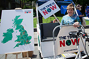 Emily Thornberry Labour MP, sits in a rickshaw at a climate change protest in Westminster, Central London, United Kingdom on 26th June 2019. Organisers of the Time is Now mass lobby demand politicians end the UKs contribution to climate change.