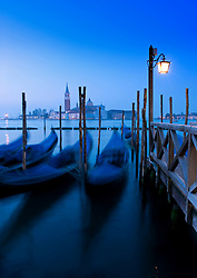 Gondolas at dawn on Grand Canal in Venice