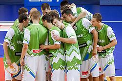 Team Slovenia during friendly match between National teams of Slovenia and Ukraine for Eurobasket 2013 on July 26, 2013 in Dvorana Komunalnega centra, Domzale, Slovenia. Slovenia defeated Ukraine 74-46. (Photo by Vid Ponikvar / Sportida.com)
