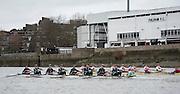 Putney, London, Pre Boat Race Fixture, Cambridge University Women's Boat Club {CUWBC} v Oxford Brookes University over the River Thames, Championship Course Putney to Mortlake, Sunday 31/01/2016. [Mandatory Credit; Intersport-images]<br /> <br /> Cambridge on Surrey, Crew Bow Ashton Brown, 2 Zara Goozee, 3 Alice Jackson, 4 Fiona Macklin, 5 Hannah Roberts, 6 Thea Zabell, 7 Daphne Martschenko, Stroke Myriam Goudet, Cox Rosemary Ostfeld.<br /> <br /> Oxford Brookes on Middlesex, Crew Bow, Grace Macdonald, 2, Imogen Mackie, 3, Christie Duff, 4, Emily Herridge, 5, Jess Brown, 6, Danni Shrosbree, 7, Annie Withers, Stroke, Suzie Dear, Cox, Aisling Humphries.