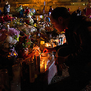 A large memorial outside University Medical Center in Tucson pays tribute to the Tucson shooting victims.