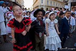 Caribbean, Cuba, Havana, children in parade