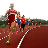 Jamestown's Red Raiders Olivia Zabrodsky leads the pack during the 1500 meters race against West Sencea at Strider Field in Jamestown NY 5-1-12 photo by Mark L. Anderson
