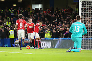 Jesse Lingard of Manchester United celebrates his goal with Wayne Rooney of Manchester United  0-1  during the Barclays Premier League match between Chelsea and Manchester United at Stamford Bridge, London, England on 7 February 2016. Photo by Phil Duncan.