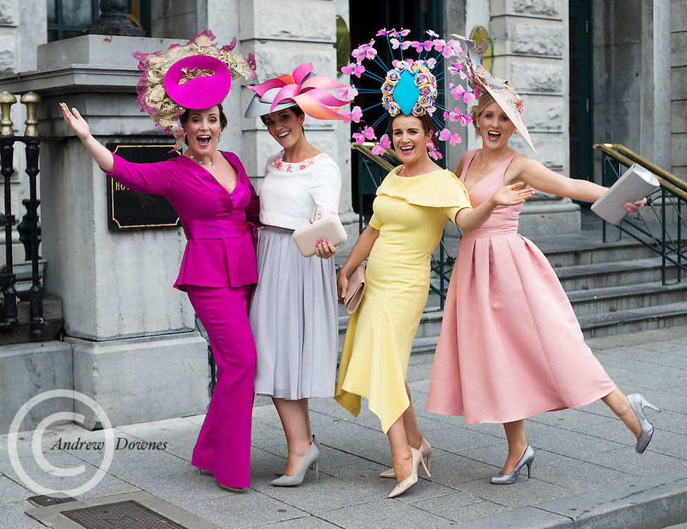 Caitriona King , Milliner, Susan Burke, Athlone, Cathy Dillon Athenry and  Tara McGrath Athenry at Hotel Meyrick Galway's 'Most Stylish Lady' Competition, a glamorous evening reception in Hotel Meyrick's Parlour Lounge on Ladies Day of the Galway Races, Thursday 28th July. Head judge this year was the stunning TG4 Rugbaí Beo sports presenter Máire Treasa Ní Dhubhghaill, assisted by a panel of leading Irish fashion experts Mandy Maher, Catwalk Model Agency and Irish model Mary Lee. The lucky winners were awarded a prize value of €2,000 worth of stunning jewellery from prize sponsors Fallers of Galway. Photo: Andrew Downes, Xposure.