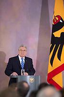 22 FEB 2013, BERLIN/GERMANY:<br /> Joachim Gauck, Bundespraesident, haelt eine Rede zu Europa, Schloss Bellevue<br /> IMAGE: 20130222-02-011<br /> KEYWORDS: Europarede, speech, Europe, Bellevue Forum