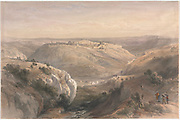 General view of Jerusalem as seen from the South Color lithograph by David Roberts (1796-1864). An engraving reprint by Louis Haghe was published in a the book 'The Holy Land, Syria, Idumea, Arabia, Egypt and Nubia. in 1855 by D. Appleton & Co., 346 & 348 Broadway in New York.
