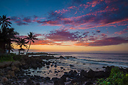 Sunset along on the North Shore of Oahu, Hawaii