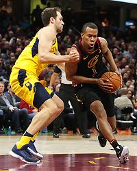 April 25, 2018 - Cleveland, OH, USA - The Cleveland Cavaliers' Rodney Hood, right, drives around the Indiana Pacers' Bojan Bogdanovic in the fourth quarter in Game 5 on Wednesday, April 25, 2018, at Quicken Loans Arena in Cleveland. The Cleveland Cavaliers won, 98-95, for a 3-2 lead in the first-round NBA playoff series. (Credit Image: © Leah Klafczynski/TNS via ZUMA Wire)