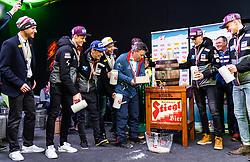 24.02.2019, Seefeld, AUT, FIS Weltmeisterschaften Ski Nordisch, Seefeld 2019, Medaillenempfang, im Bild Bernhard Gruber (AUT), Philipp Aschenwald (AUT), Stefan Kraft (AUT), Franz Josef Rehrl (AUT),OeSV Praesident Peter Schroecksnadel, Michael Hayboeck (AUT), Daniel Huber (AUT) // Bernhard Gruber (AUT) Philipp Aschenwald (AUT) Stefan Kraft (AUT) Franz Josef Rehrl (AUT) OeSV President Peter Schroecksnadel Michael Hayboeck (AUT) Daniel Huber (AUT) during the medal party for the team Austria of FIS Nordic Ski World Championships 2019. Seefeld, Austria on 2019/02/24. EXPA Pictures © 2019, PhotoCredit: EXPA/ JFK