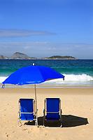blue deckchair on ipanema beach rio de janeiro brazil