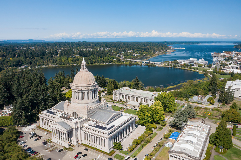 United States, Washington, Olympia, State Capitol and Budd Bay Inlet  (aerial view)
