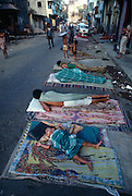 About one third of  the population of Bombay is homeless and whole families make the street their homes.