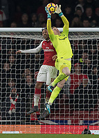 Football - 2017 / 2018 Premier League - Arsenal vs. Everton<br /> <br /> Jordan Pickford (Everton FC ) collects a high ball challenged by Pierre-Emerick Aubameyang (Arsenal FC) at The Emirates.<br /> <br /> COLORSPORT/DANIEL BEARHAM