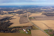 Aerial photograph of rural Dane County, Wisconsin, USA, farmland.