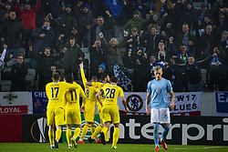 February 14, 2019 - MalmÅ, Sweden - 190214 Players of Chelsea celebrate Ross Barkley scored 0-1 with fans while SÅ¡ren Rieks of MalmÅ¡ FF looks dejected in the foreground during the Europa league match between MalmÅ¡ FF and Chelsea on February 14, 2019 in MalmÅ¡..Photo: Ludvig Thunman / BILDBYRN / kod LT / 92225 (Credit Image: © Ludvig Thunman/Bildbyran via ZUMA Press)