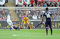 GOAL  - Swansea City's Gylfi Sigur?sson scores his sides first goal  <br /> <br /> Photographer Ashley Crowden/CameraSport<br /> <br /> Football - Barclays Premiership - Swansea City v Manchester City - Sunday 17th May 2015 - Liberty Stadium - Swansea<br /> <br /> © CameraSport - 43 Linden Ave. Countesthorpe. Leicester. England. LE8 5PG - Tel: +44 (0) 116 277 4147 - admin@camerasport.com - www.camerasport.com