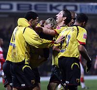 Photo: Mark Stephenson/Richard Lane Photography.<br /> Watford v Charlton Althetic. Coca Cola Championship. 19/01/2008. Watford celebrate there goal for 1-0