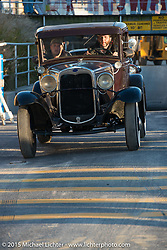 Hot Rods leaving the beach after a day of racing at The Race of Gentlemen. Wildwood, NJ, USA. October 10, 2015.  Photography ©2015 Michael Lichter.