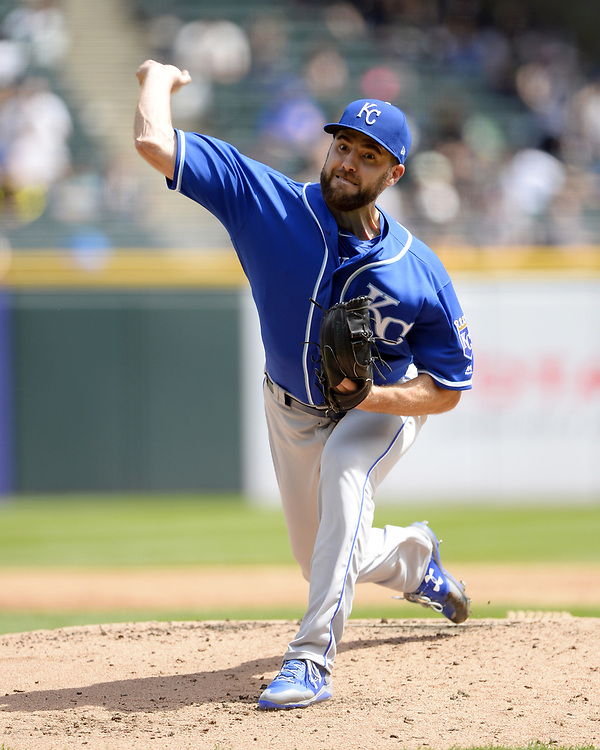 CHICAGO - APRIL 26:  Nathan Karns #55 of the Kansas City Royals pitches against the Chicago White Sox on April 26, 2017 at Guaranteed Rate Field in Chicago, Illinois.  The White Sox defeated the Royals 5-2.  (Photo by Ron Vesely)   Subject:  Nate Karns