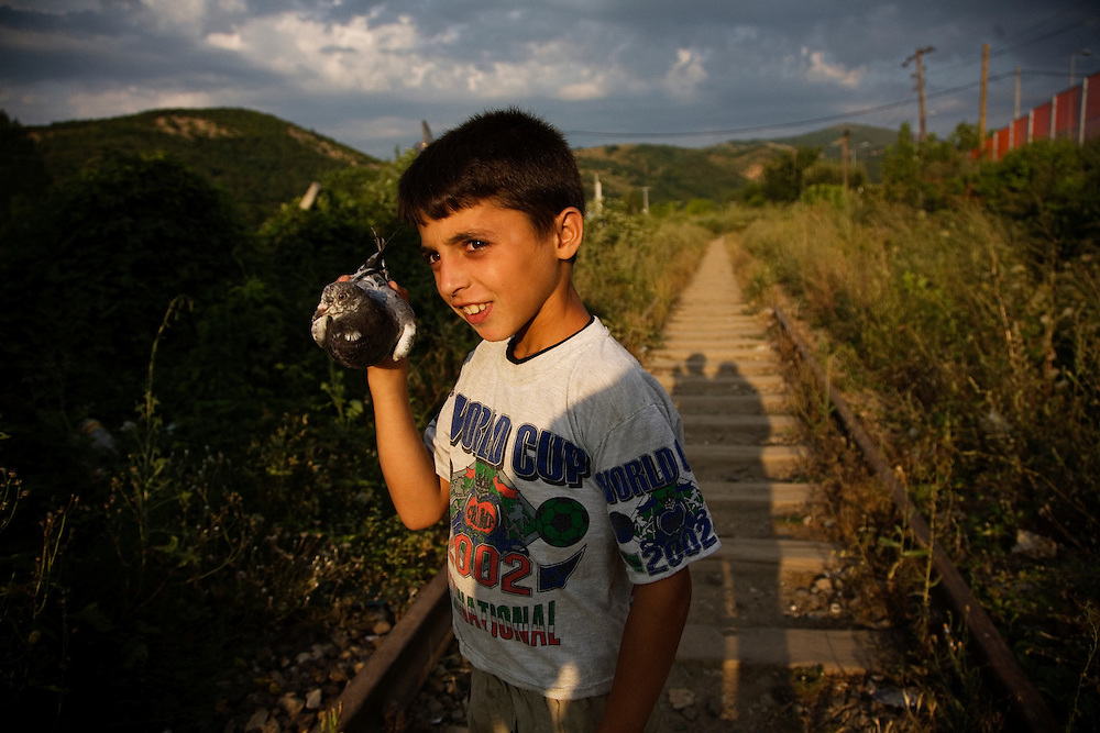 Young roma boy with a pigeon.